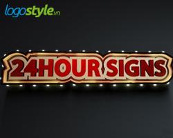 thiet ke logo 3d dep 24hour signs