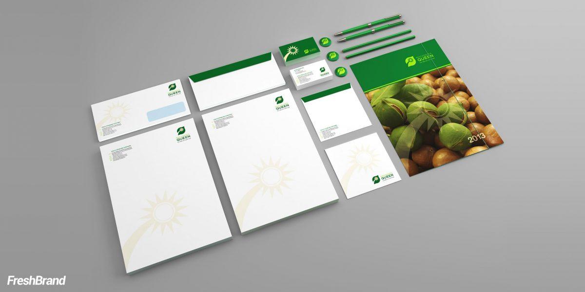 thiết kế nhận diện thương hiệu macadamia queen